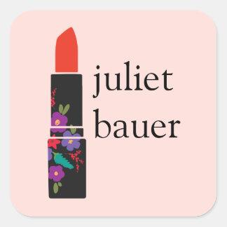 Cute Pink Floral Lipstick Makeup Artist Beauty Square Sticker