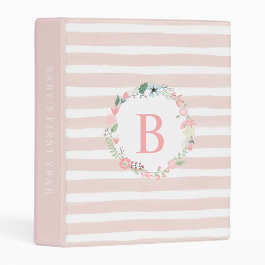 Cute Pink Floral Monogram Mini Binder