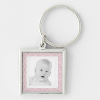Cute Pink Floral Pattern Photo Template Keychain