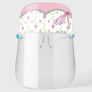 Cute Pink Floral with Dragonfly Girly Kids Face Shield