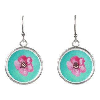 Cute Pink Flower Aqua Blue Watercolor Earrings