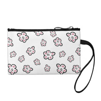 Cute Pink Flower Blossoms On White Background Coin Wallet