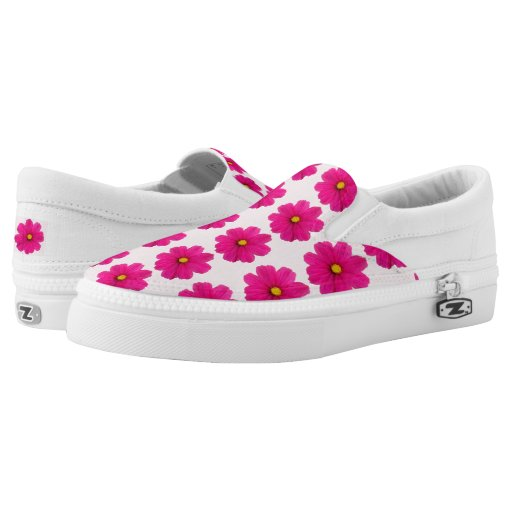 cute pink flower pattern shoes