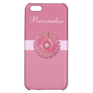 Cute Pink Flower with Diamonds Hearts Printed iPhone 5C Cases