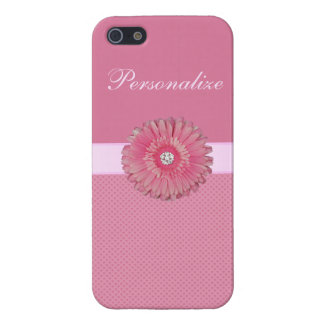 Cute Pink Flower with Diamonds Hearts Printed Cases For iPhone 5