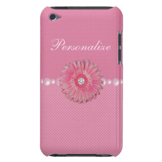 Cute Pink Flower with Diamonds pearls Hearts iPod Touch Case