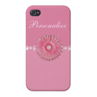 Cute Pink Flower with Diamonds, pearls & Hearts Cover For iPhone 4