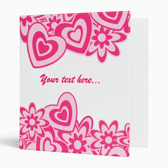 Cute pink flowers and hearts with a name 3 ring binder