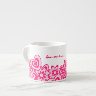 Cute pink flowers and hearts with a name espresso cup