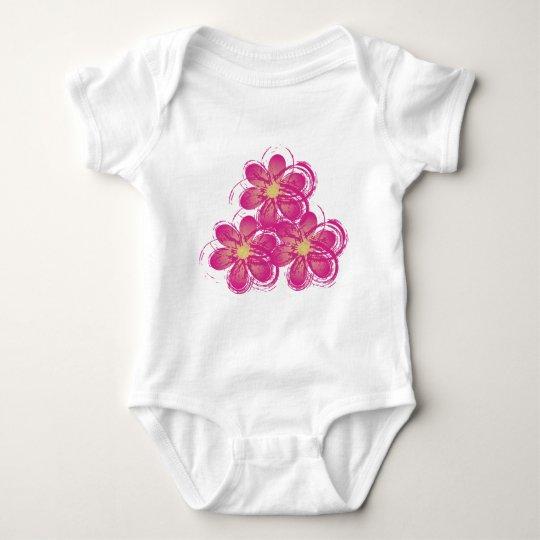 cute pink flowers baby baby bodysuit