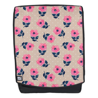 Cute Pink Flowers Beige Background Design Backpack