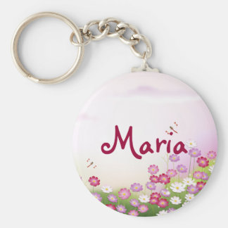 Cute Pink Flowers, Dragonflies Keychains