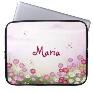 Cute Pink Flowers, Dragonflies Laptop Sleeves