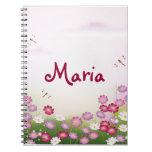 Cute Pink Flowers, Dragonflies Notebooks