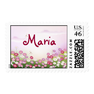 Cute Pink Flowers Dragonflies Postage Stamps