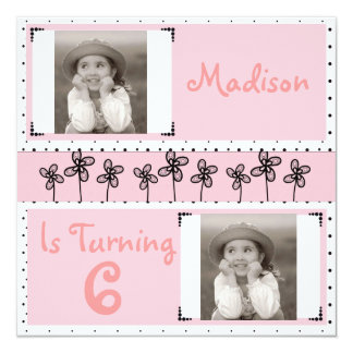 Cute Pink Flowers Girl Birthday Photo Invitation