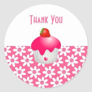 Cute Pink Flowers & Party Cupcake Thank You Seal