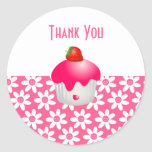 Cute Pink Flowers & Party Cupcake Thank You Seal Classic Round Sticker