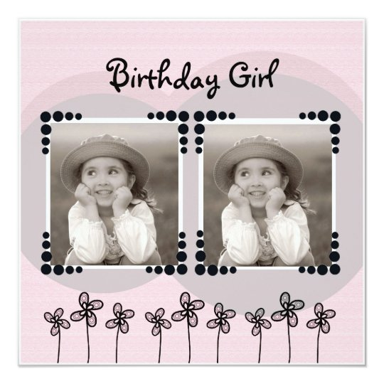 Cute Pink Flowers Photo Girl Birthday Party Card