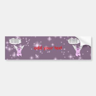 Cute Pink Flying Pig Bumper Sticker