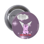 Cute Pink Flying Pig Buttons