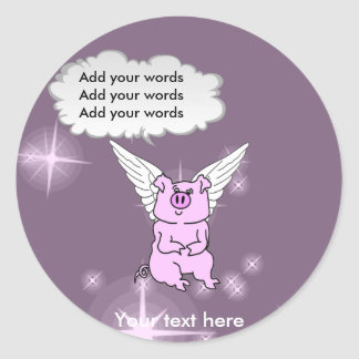 Cute Pink Flying Pig Classic Round Sticker