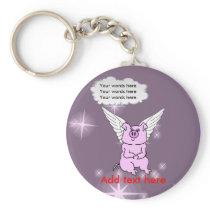 Cute Pink Flying Pig Keychain