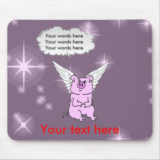 Cute Pink Flying Pig Mouse Pad