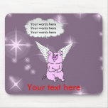Cute Pink Flying Pig Mouse Pads