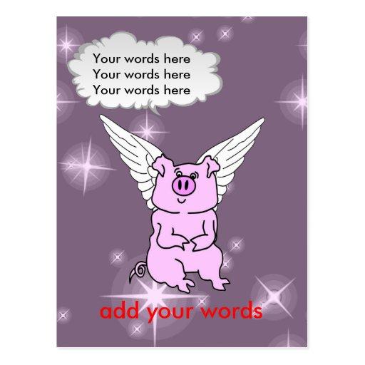 Cute Pink Flying Pig Post Card