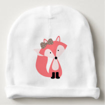 Cute Pink Fox Baby Beanie