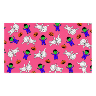 Cute pink Frankenstein mummy pumpkins Double-Sided Standard Business Cards (Pack Of 100)