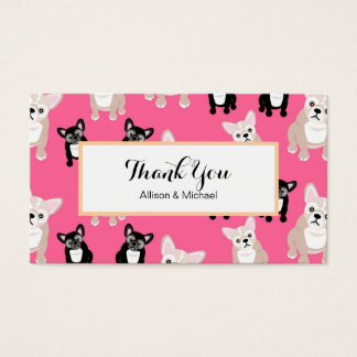 Cute Pink French Bulldog Pattern Business Card