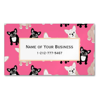 Cute Pink French Bulldog Pattern Magnetic Business Card