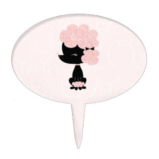 Cute Pink French Poodle Cake Topper