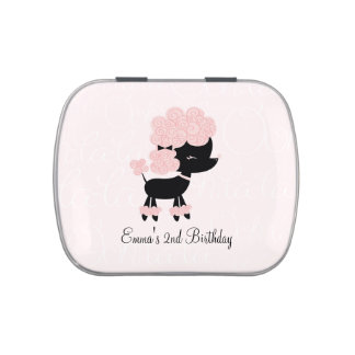 Cute Pink French Poodle Jelly Belly Tin
