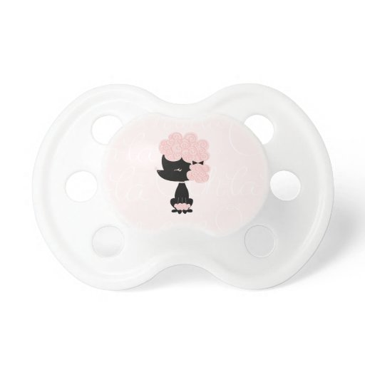 Cute Pink French Poodle Pacifier