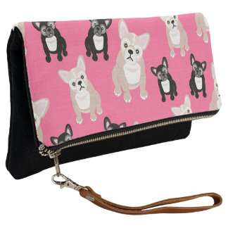 Cute Pink Frenchies French Bulldogs Clutch