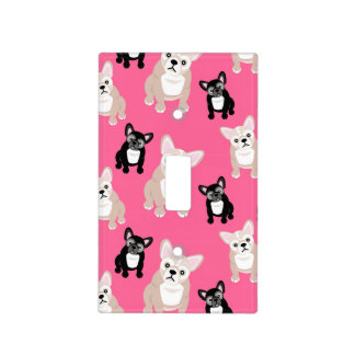 Cute Pink Frenchies French Bulldogs Light Switch Cover