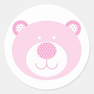 Cute Pink Friendly Bear Classic Round Sticker
