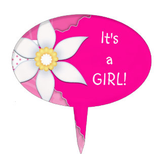 Cute Pink Gender Reveal Baby Shower Girl Cake Toppers