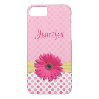 Cute Pink Gerbera Daisy Polka Dot iPhone 7 Case