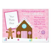 Cute Pink Gingerbread 1st Birthday Card