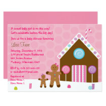 Cute Pink Gingerbread Baby Shower Card
