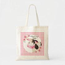 Cute Pink Gingham Cow Birthday Farm Animals Tote Bag