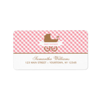 Cute Pink Gingham Pattern and Baby Carriage Label