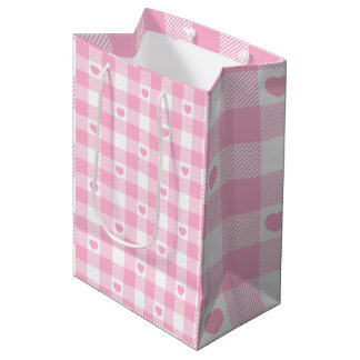 Cute Pink Gingham Vichy With Hearts Medium Gift Bag