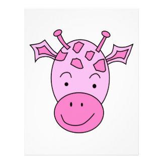 Cute Pink Giraffe. Flyer Design