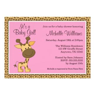 Cute Pink Giraffe Girl Baby Shower Personalized Invitation