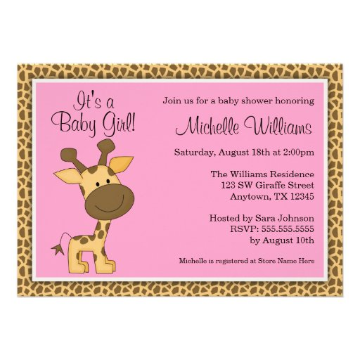Cute Pink Giraffe Girl Baby Shower Personalized Invitation